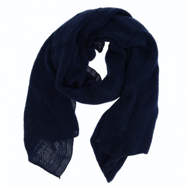 Out Of Ireland Deep Blue Jacquard Patterns Scarf