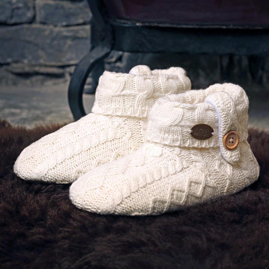 ebb8be27d79a Aran Woolen Mills Ecru Boots Slippers