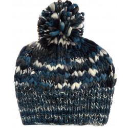 Bonnet Pompon Laine Mélangée Bleu Kusan